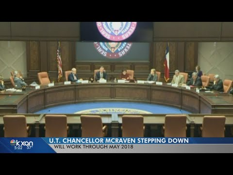 University of Texas Chancellor William McRaven resigning from