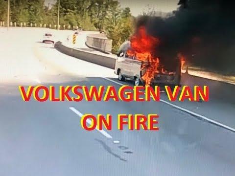 Volkswagen VW Van on Fire See My Brother Panic